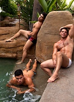 What could be hotter than having Diego Sans, Dante Ferraro and Derek Atlas in a crazy hot three way by a waterfall that involves blowjobs, rimming and