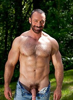 Brad Kalvo shows his hairy muscle body outdoors