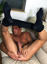 Marcello puts on pantyhose and plays with his huge cock