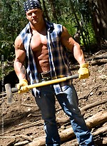 Hot muscle hunk in a forest