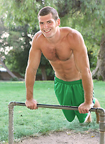 Hot stud Thomas workout outdoors and shows his cock
