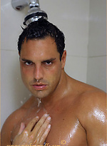 Hard bodied Marcello gets nice and wet in the shower