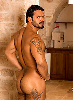 Hot hairy muscle men shows his cock and ass
