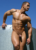 Muscle man Chris Wide shows his ripped body