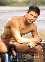 Brunette hunk Arthur Gordon naked outdoors