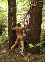 Horny men jump on a beefy jock and turn him into a sex slave at a campground.