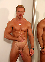 What a body! a square jaw, handsome face, beautiful uncut dick and a complete exhibitionist. Steve S.