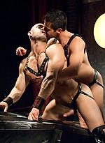 Muscle men in leather gear Craig Reynolds and Sean Stavos fucking