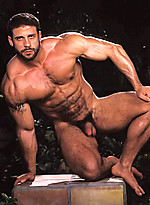 Hot muscle man shows his perfect body and rock-hard cock