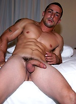 Muscle latin guy Chris Principe jacking off dick